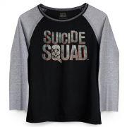 Camiseta Manga Longa Feminina Esquadrão Suicida Logo