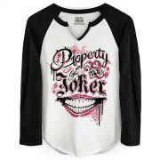 Camiseta Manga Longa Feminina Esquadrão Suicida Property of Joker