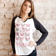 Camiseta Manga Longa Feminina Hello Kitty Butterflies Dream