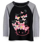Camiseta Manga Longa Feminina Hello KItty Butterflies Party