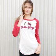 Camiseta Manga Longa Feminina Hello Kitty Charm