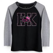 Camiseta Manga Longa Feminina Hello KItty HK Pink Glasses