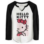 Camiseta Manga Longa Feminina Hello Kitty Poá