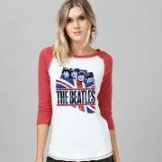 Camiseta Manga Longa Feminina The Beatles England Flag