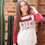 Camiseta Manga Longa Feminina TodaTeen Meow