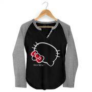 Camiseta Raglan Feminina Hello Kitty Ribbon Over