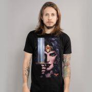 Camiseta Masculina Wonder Woman Face Art