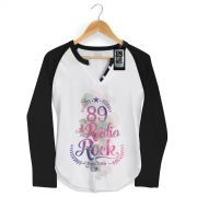 Camiseta Raglan Feminina 89 FM A Rádio Rock Since 1985