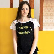 Camiseta Raglan Feminina Batman Logo