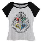 Camiseta Raglan Feminina Harry Potter Bras�o de Hogwarts