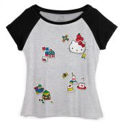 Camiseta Raglan Feminina Hello Kitty Classic Vintage Patches