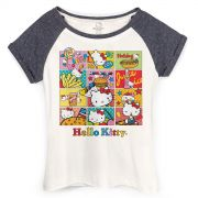 Camiseta Raglan Feminina Hello Kitty Junk Food HQ