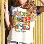 Camiseta Raglan Feminina Hello Kitty Junk Food HQ