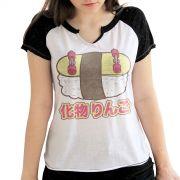 Camiseta Raglan Feminina Monstra Maçã Big Sushiskate