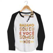 Camiseta Raglan Feminina Saulo Baiano Sou Eu, É Você, Somos Nós