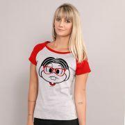 Camiseta Raglan Feminina Turma da Mônica Nerd 2016
