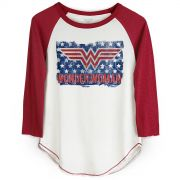 Camiseta Manga Longa Feminina Wonder Woman Flag
