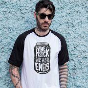 Camiseta Raglan Masculina 89FM A Rádio Rock Na Lata