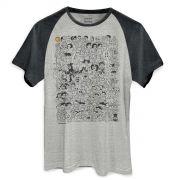 Camiseta Raglan Premium Masculina Maurício de Sousa 80 Anos P&B