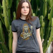 Camiseta Ringer Feminina 89FM A Rádio Rock The Death