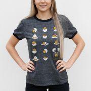 Camiseta Ringer Feminina Gudetama Many Poses