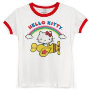 Camiseta Ringer Feminina Hello Kitty Classic Vintage Airplane