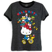 Camiseta Ringer Feminina Hello Kitty Tricycle