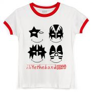 Camiseta Ringer Feminina Kiss I Like The Band