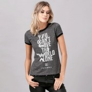 Camiseta Ringer Feminina Liga da Justiça You Can´t Save