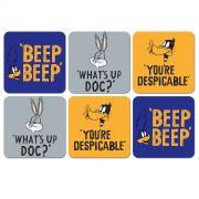 Conjunto com 6 Porta Copos Looney Tunes Personagens Frases