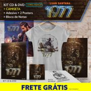Combo Premium Luan Santana Kit CD & DVD 1977 + Camiseta + 2 Pôsteres + Adesivo e Bloco GRÁTIS