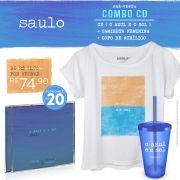 Pré-Venda Combo Saulo CD O Azul e O Sol + Blusa Feminina + Copo