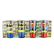 Set 4 Copos Caldereta Batman e Superman