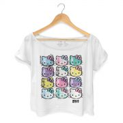 T-shirt Premium Feminina Hello Kitty Face Colors