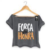 T-shirt Premium Feminina Thiaguinho For�a e Honra Black