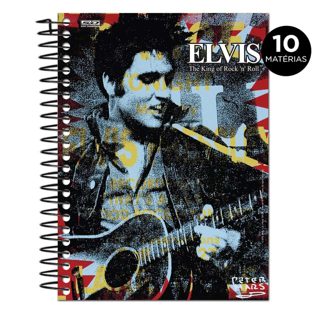 Caderno Elvis Presley The King Of Rock n´ Roll Colors 10 Matérias