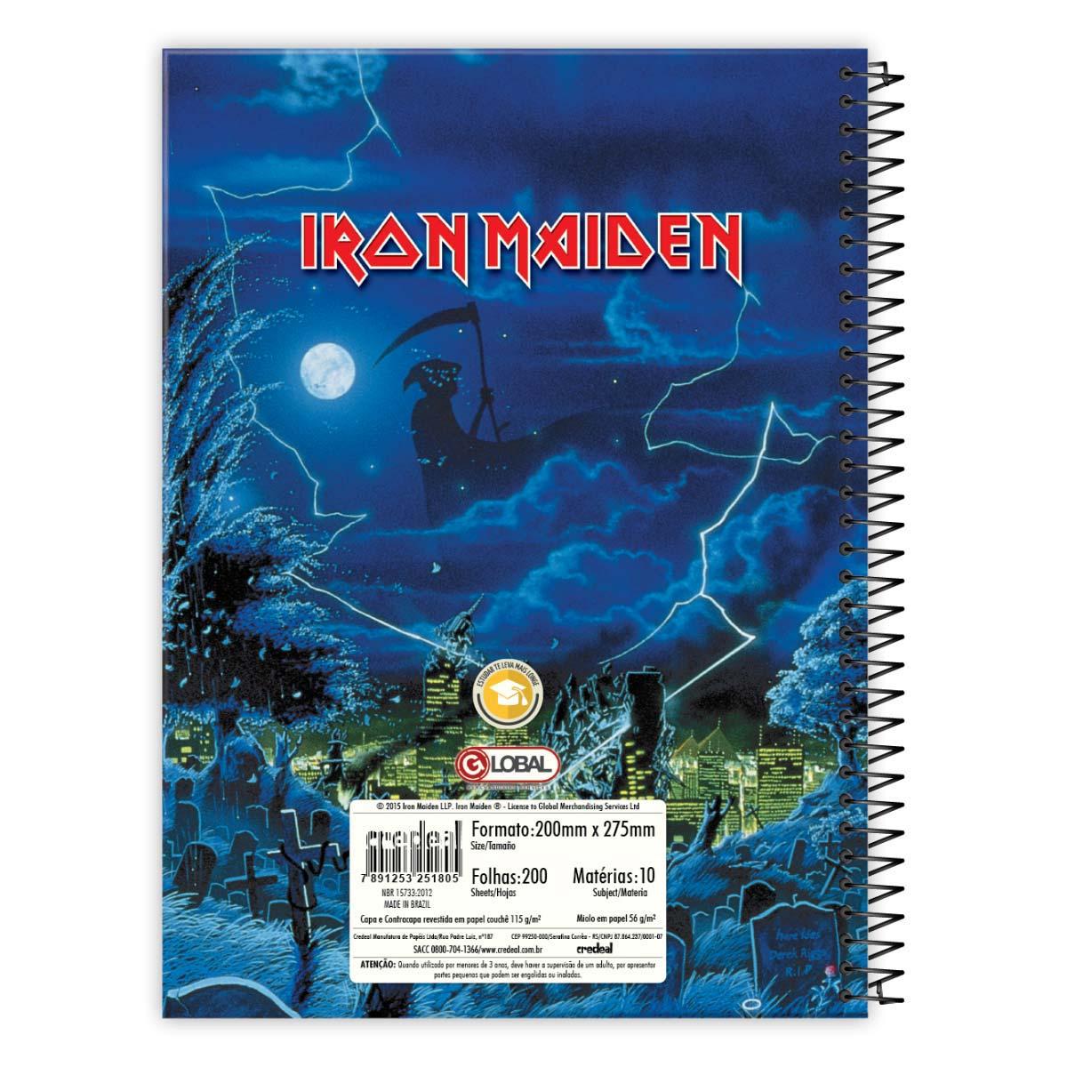 Caderno Iron Maiden Somewhere In Time 10 Matérias