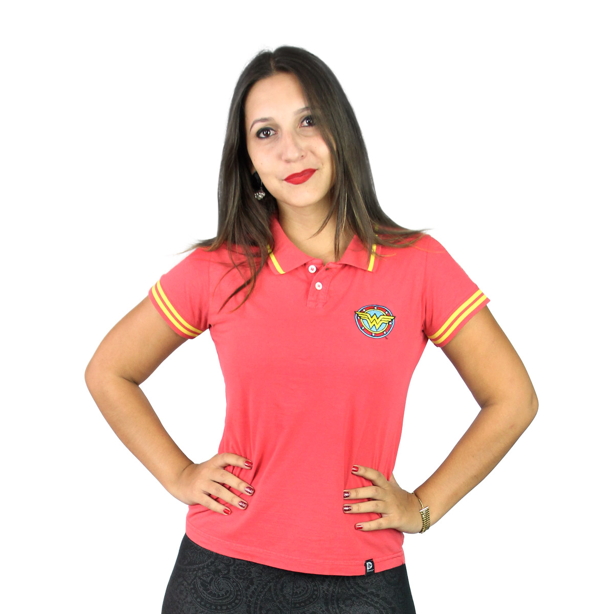 Camisa Polo Feminina Wonder Woman Logo