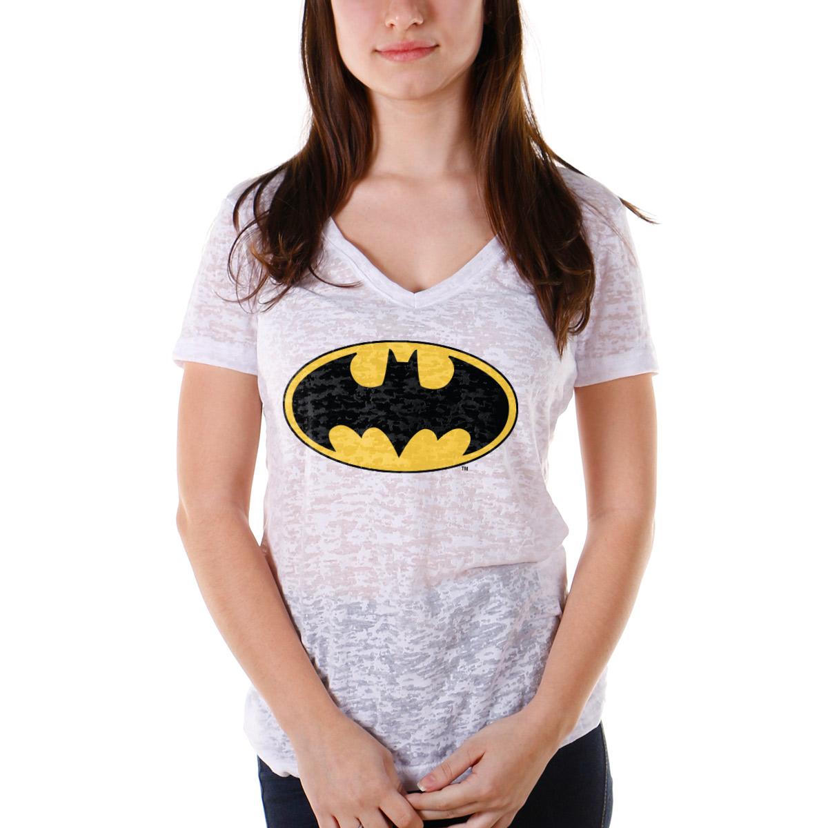 Camiseta Devorê Feminina Batman Logo Clássico