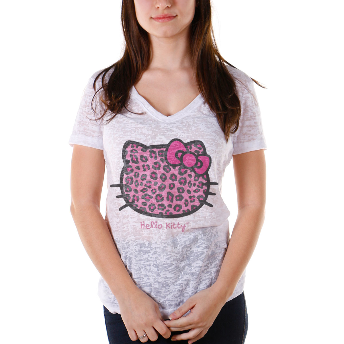 Camiseta Devorê Feminina Hello Kitty Animal Print