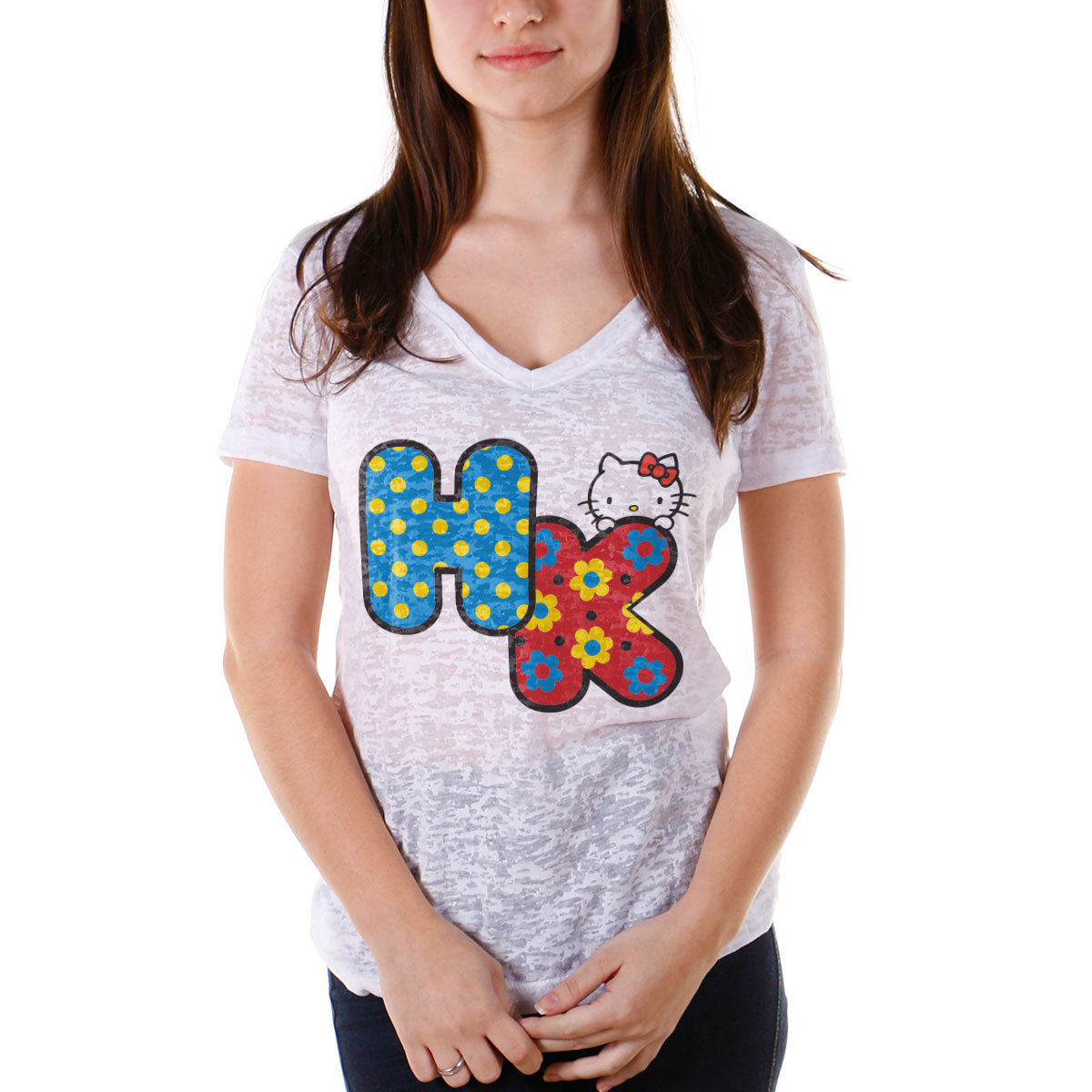 Camiseta Devorê Feminina Hello Kitty Cute