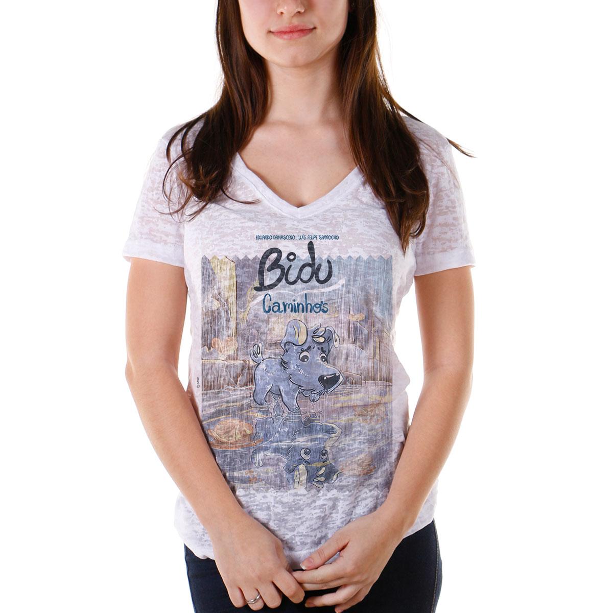 Camiseta Devorê Feminina Turma da Mônica Bidu Caminhos