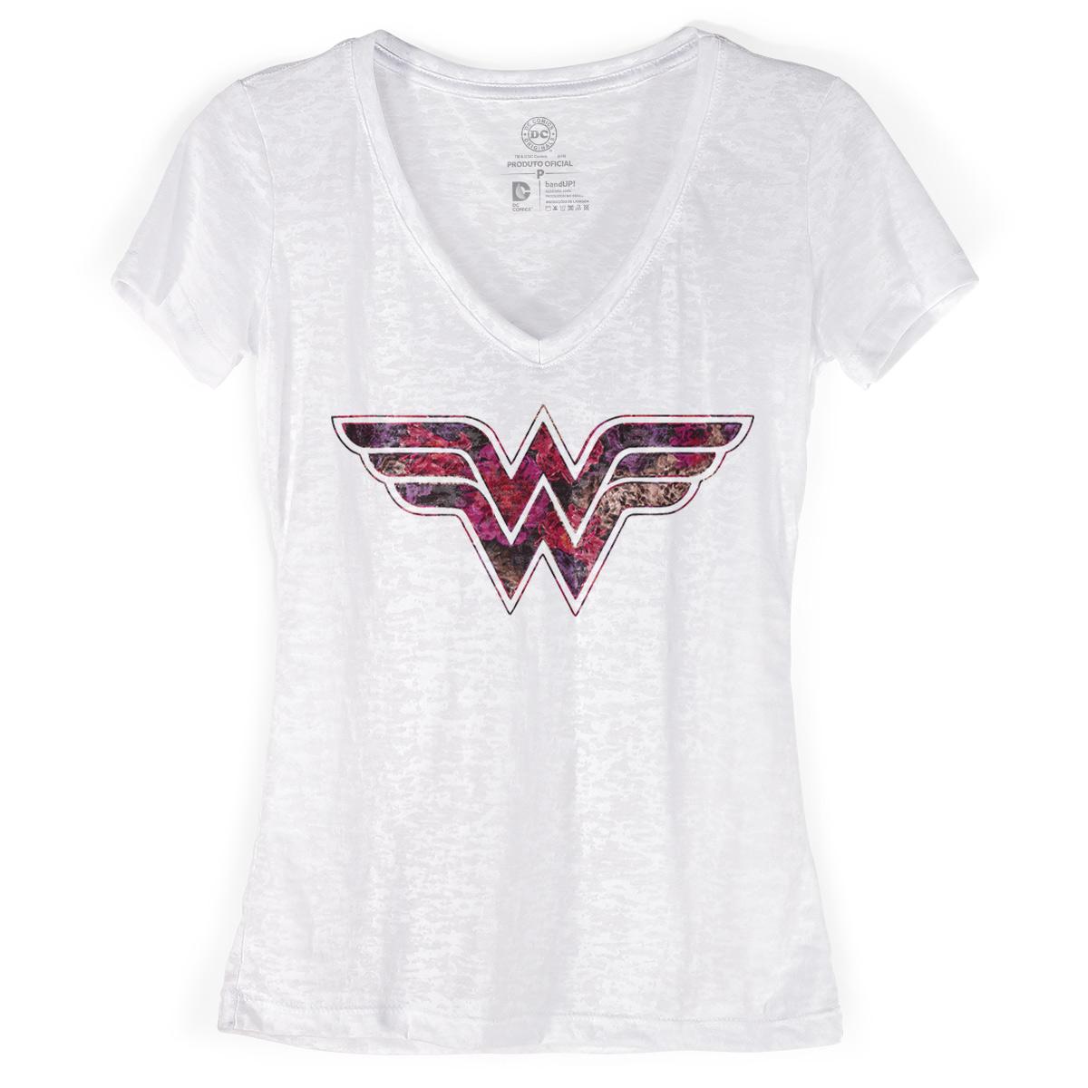 Camiseta Devorê Feminina Wonder Woman Logo Fashion