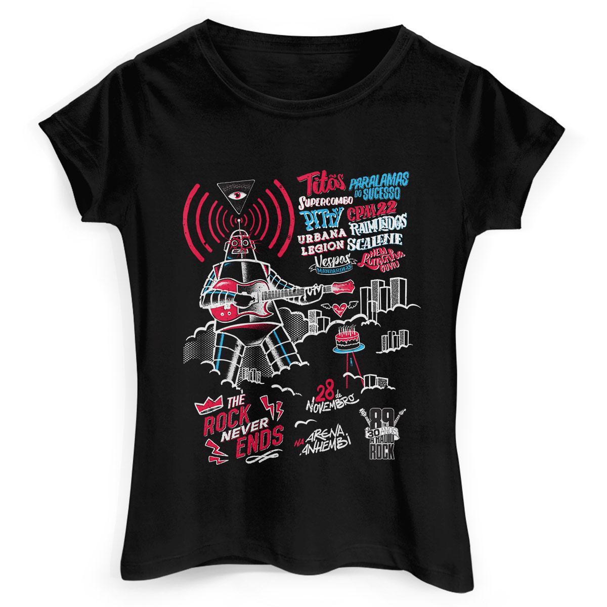 Camiseta Feminina 89FM A Rádio Rock 30 Anos Pôster