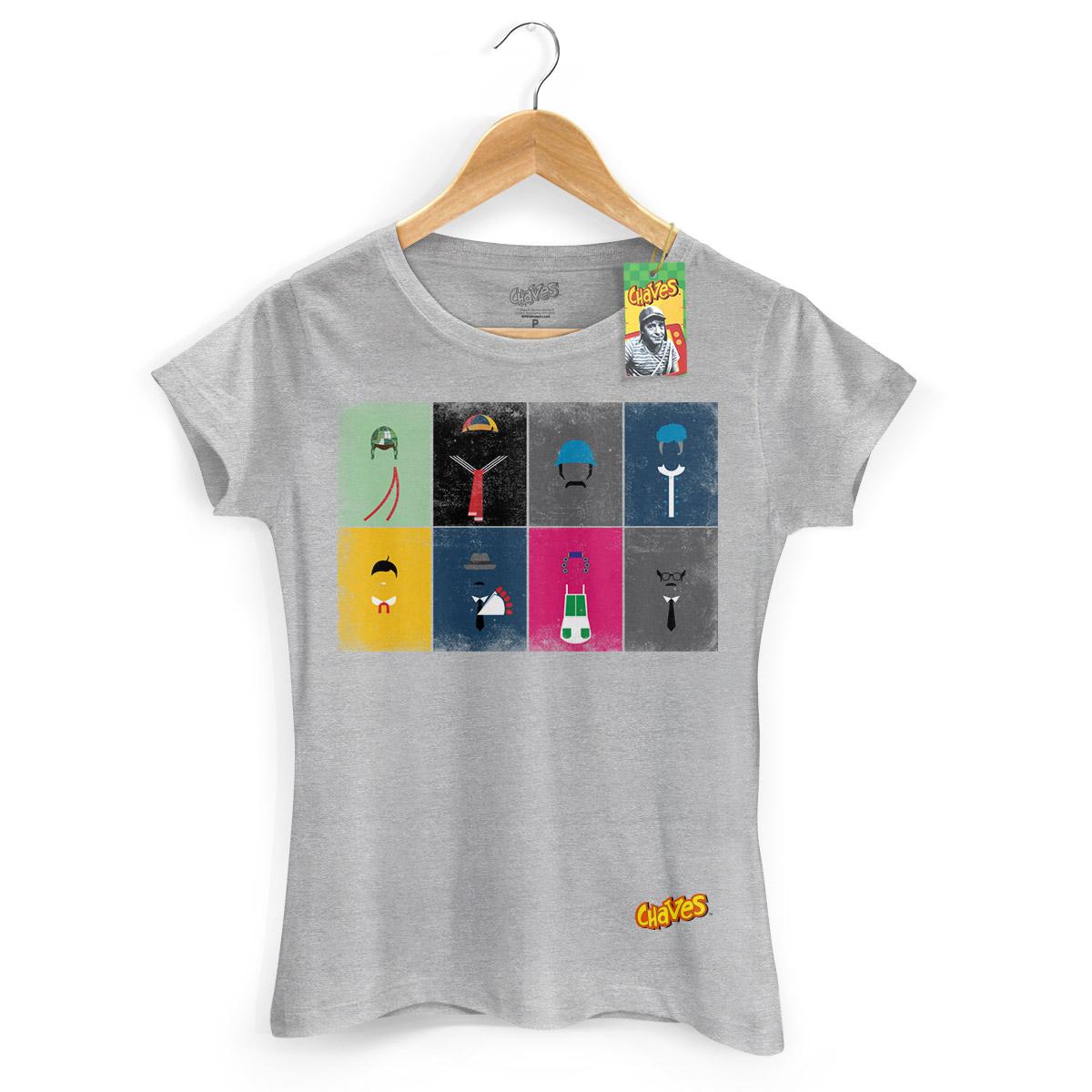 Camiseta Feminina Chaves Ícones Vintage