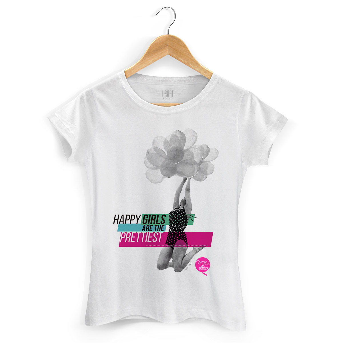 Camiseta Feminina QeB Happy Girls