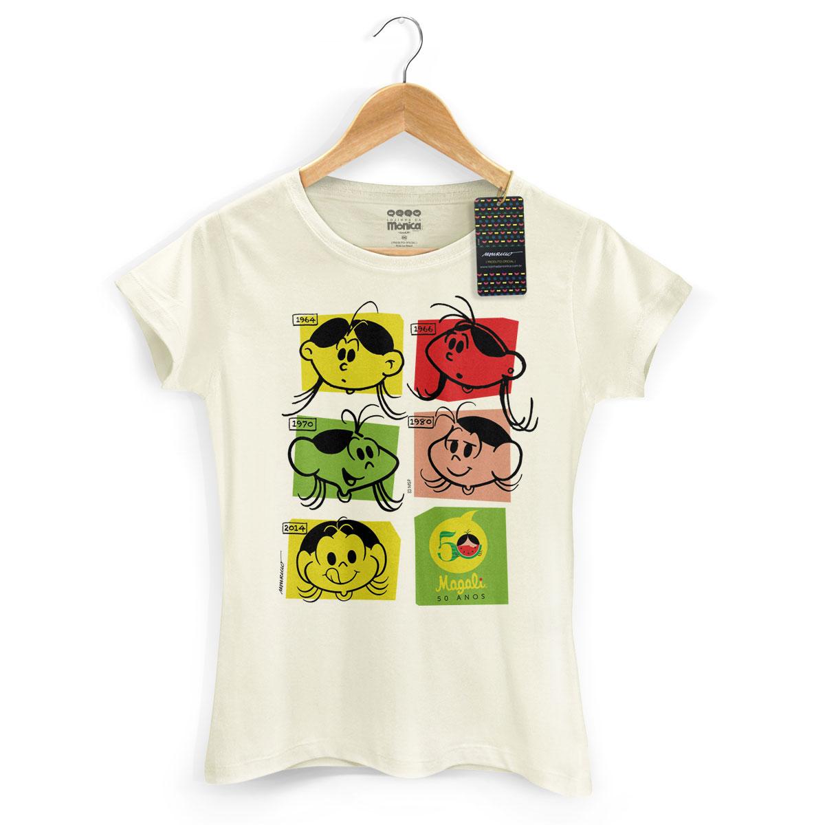 Camiseta Feminina Magali 50 Anos Evolução Colors