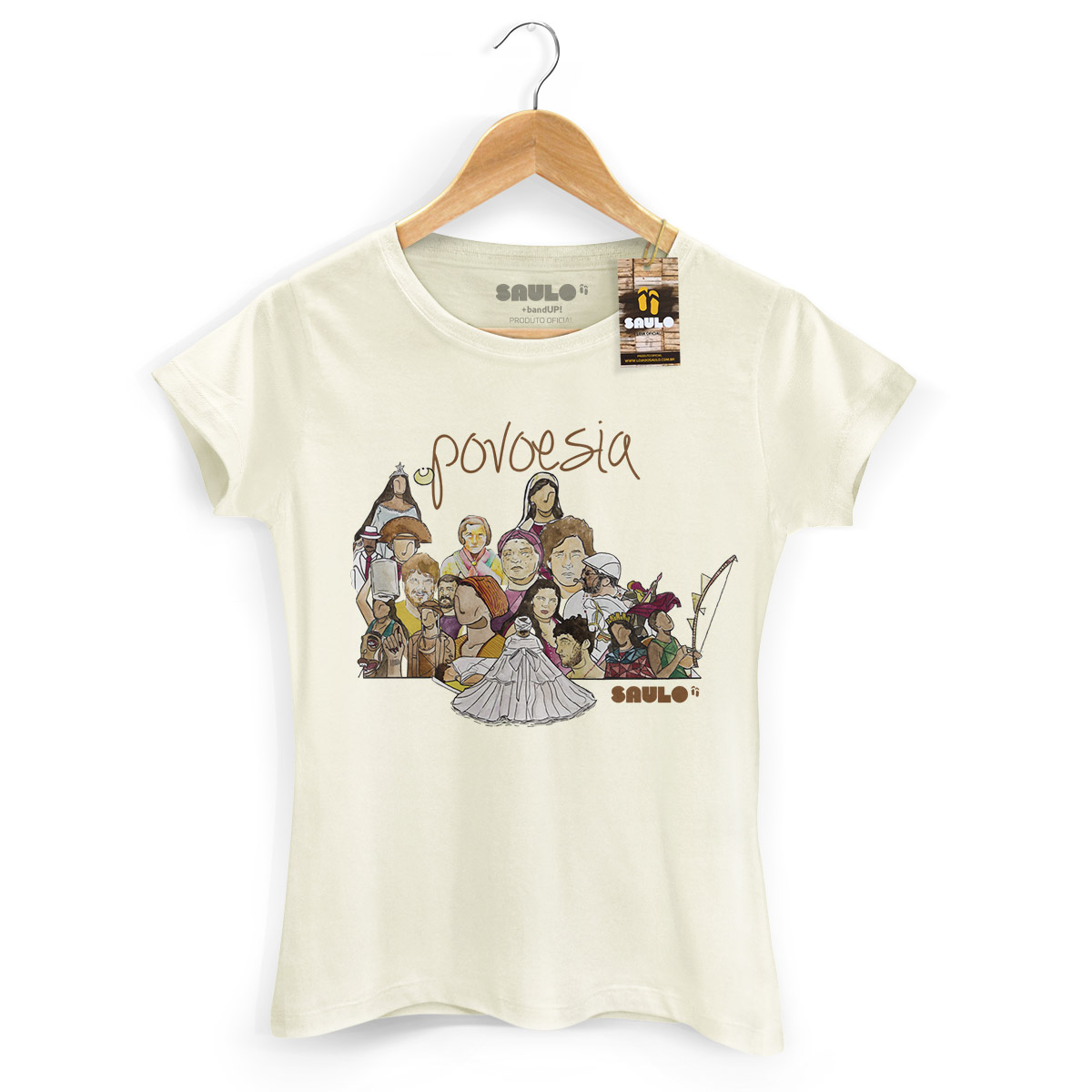 Camiseta Feminina Saulo Povoesia Ilustrada