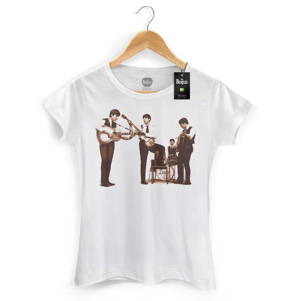 Camiseta Feminina The Beatles - Picture Sepia