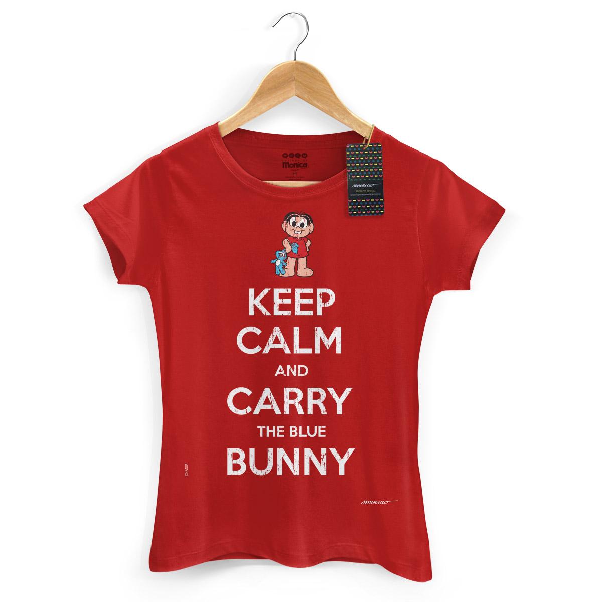 Camiseta Feminina Turma da Mônica Cool Keep Calm And Carry The Blue Bunny